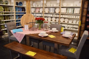 Beautiful tableware is found throughout the store, lining shelves and creating gorgeous vignettes.