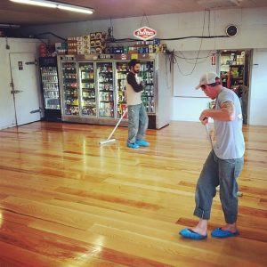 Sustainably harvested fir floors are now shined and ready for customers. Photo courtesy: Noah Westgate.