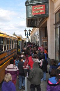 The kids scramble in to find their seats for each spell-binding show. Photo courtesy: Mount Baker Theatre.