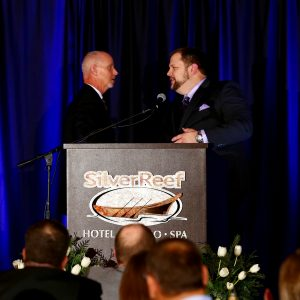 Guy Occhiogrosso shakes hands with Peter Cutbill of Skagit Bank at the 2016 Annual Awards Dinner. Photo credit: Radley Muller Photography.
