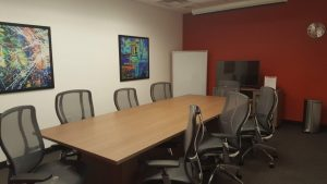 The board room can be customized to offer Regus clientele the visual aids and technical support for an upcoming presentation or target audience. Photo courtesy: Regis.