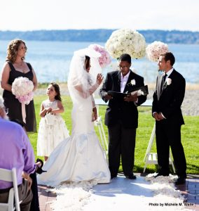 Marry Me Wedding Ceremonies creates a meaningful ceremony for anyone chosen by the family to officiate. Photo courtesy: Marry Me Wedding Ceremonies.
