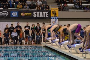 Pearson, pictured on platform No. 4, at the state of the 50 free state finals. Photo credit: Grant Clark.
