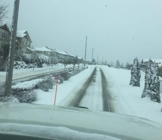 Working to clear Chandler Parkway of snow on Tuesday morning in the City of Bellingham.