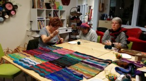 Apple Yarns Customers band together to create an auction item for Whatcom Hospice Foundation's event, Light the Night.