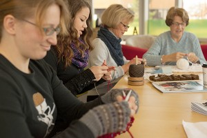 Most yarn shops have classes and gatherings scheduled throughout the month, and many of the social gatherings are free!