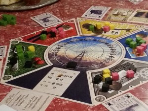 View of the World's Fair 1893 board, mid-game, reflecting active play. Photo courtesy: Beth Sobel.