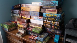 """Beth Sobel's """"small"""" collection of about 100 games. Photo courtesy: Beth Sobel."""