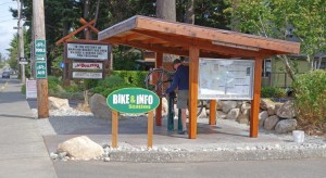 The Community Bike Repair and Information Station in front of A1-Builders is a resource for all all passing bicyclists and pedestrians. Photo courtesy: A-1 Builders.