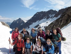 Nell (far right) hikes with her Wild Whatcom Explorers Club on a backpack trip in the Glacier Peak Wilderness. Photo courtesy: Wild Whatcom.