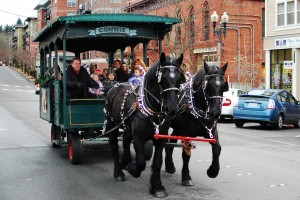 Free carriage rides around historic Fairhaven are a favorite holiday tradition.
