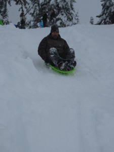 Mike Duryee from Bellingham reminds us that sledding isn't just for kids. He's catching some speed at Mount Baker.