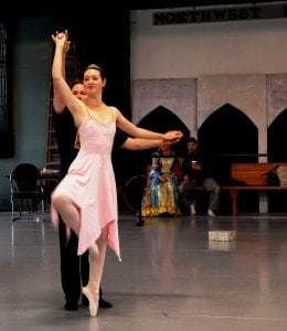Emily and choreographer (and The Nutcracker Prince) at the first dress rehearsal. Photo credit: Patricia Herlevi.