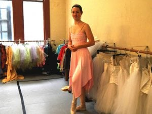 Emily Deschane has worn most of these costumes during her eight years performing The Nutcracker for NBT. Photo credit: Patricia Herlevi.