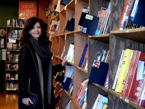 Local Author Jeannette Dashiell hangs out in the literary paradise, Village Books. Photo credit: Patricia Herlevi.