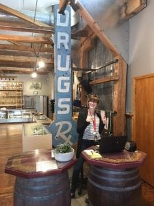 """The """"Drugs"""" sign is registered and its story told in the national Heirloom Registry. Photo courtesy: Satori Cannabis Boutique."""