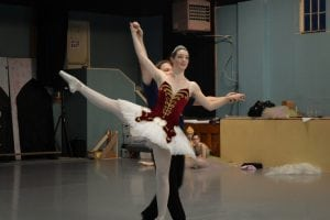 John Bishop and Emily Deschane practice in costume in preparation for performance. Photo credit: Patricia Herlevi.