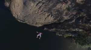 Redal captures cliff jumping, along with many other outdoor activities, from an aerial view. Photo courtesy: Screenshot from Above Bellingham.