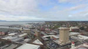 Redal navigates his drone over downtown Bellingham to capture iconic buildings such as the Whatcom Museum. Photo courtesy: Screenshot from Above Bellingham.