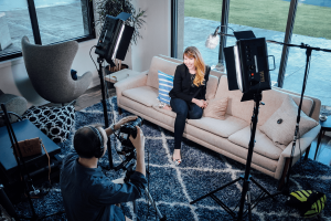 Burdick helps his clients relax for an authentic and personal marketing video. Photo courtesy: Veritas Media Productions.