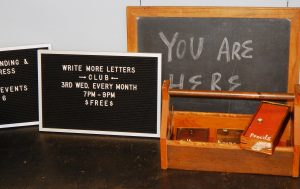 Join the Write More Letters Club hosted by Bison Book Binding and Letter Press. Photo credit: Patricia Herlevi.