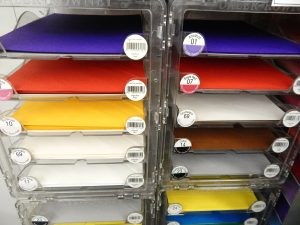 Brighten up a friend's mailbox with colors of the rainbow. Dakota Art offers an array of writing paper. Photo credit: Patricia Herlevi.