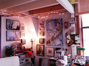 Nancy Canyon writes and paints at her studio in the Morgan Block Building in Fairhaven. Photo credit: Patricia Herlevi.