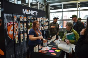 Exhibitors displaying McNett gear answered questions from community members at Recreation Northwest's 2016 EXPO. Photo credit: Todd Ellsworth.