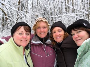 Tracy Strissel (second from the left) has met every year for over 25 years with her friends Phyllis Hess, Kelley Scarsafava and Megan Thomas who inspired her to start her own business, A Piece of the Farm, based on her first chicken coop ornaments created and given to them as gifts. Photo courtesy: A Piece of the Farm.