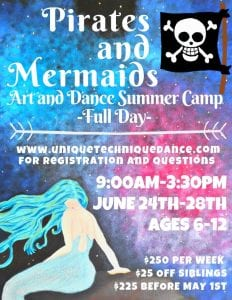 Mermaids & Pirates Art & Dance Camp! @ Mermaids & Pirates Art & Dance Camp!