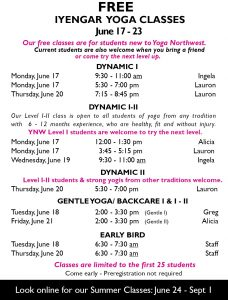 Free Iyengar Yoga Classes @ Yoga Northwest