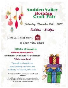 Sudden Valley Annual Craft Fair @ Dance Barn in Gate 2 of Sudden Valley