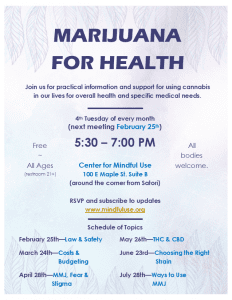 Marijuana For Health Support Group @ Center For Mindful Use