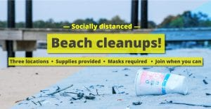 Socially distanced beach cleanups @ Locust Beach, Cherry Point Beach, Semiahmoo Spit