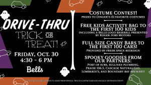 Bells to Host Drive-Thru Trick or Treat Event @ Civic Field Parking Lot (Southwest corner near Joe Martin Field entrance)