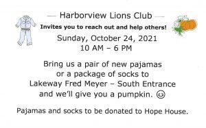 "Harborview Lions ""Pumpkins 4 PJs"" at Lakeway Fred Meyer @ Lakeway Fred Meyer"